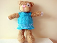 Hand Knitted Cat Knitted Pussycat Stuffed by TabbyCatCraftsShop