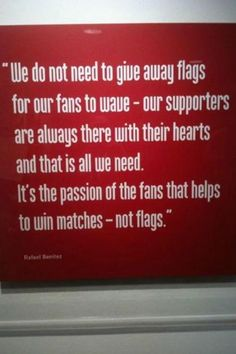 """Here's what new Chelsea manager Rafa Benitez had to say about the Chelsea fans back in """"We don't need to give away stupid plastic flags to our fans to wave, our. Liverpool Team, Liverpool Fc Managers, Gerrard Liverpool, Liverpool Champions, Premier League Champions, Chelsea Fans, Fury Quotes, Song Quotes"""