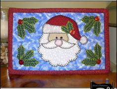 PDF Pattern for Santa Mug Rug, Christmas Mug Rug Pattern, Santa Mini Quilt Pattern - Tutorial, DIY