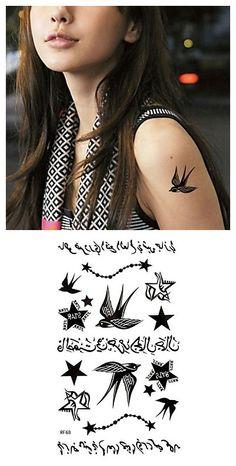 Black Arabic Swallow Waterproof Temporary Tattoo Sticker