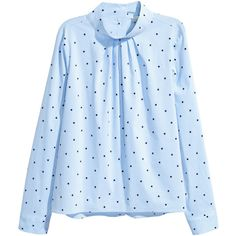 Blouse with Stand-up Collar $34.99 (255 GTQ) ❤ liked on Polyvore featuring tops, blouses, stand up collar blouse, long sleeve tops, button blouse, light blue top and blue blouse