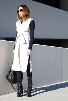 total chicness:  Celine vest // Target turtleneck // Cheap Monday jeans // Burberry Prorsum boots // Celine sunglasses // Givenchy bag