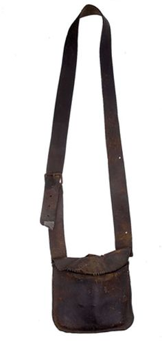 Early leather hunting pouch or possibles bag.  google.com