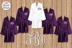 FREE ROBE, Set of 7 or MORE Dark Purple Robe, Personalized Satin Robes, Bridesmaid Gift, Wedding, Brides Robe, Monogrammed Robes, Satin