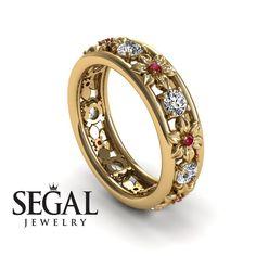 Anniversary ring Diamond ring 14K Yellow Gold Flowers Vintage White diamond And Ruby - Victoriaengagementrings #engagement #rings #vintage #Anniversary #vintageengagmentring #vintagering #wedding #diamond