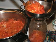 Canning Granny: Canning Tomatoes - freeze tomatoes until you have enough to can.
