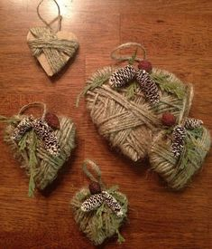 Made these super cute and easy ornaments for my tree in the dining room! (All you need are some cardboard hearts, twine, and some dried cranberries, greenery and pine cones. Assemble with a hot glue gun and your good to go! Primitive Christmas, Rustic Christmas Ornaments, Primitive Crafts, Christmas Art, Winter Christmas, Christmas Decorations, Holiday, Valentine Crafts, Christmas Crafts