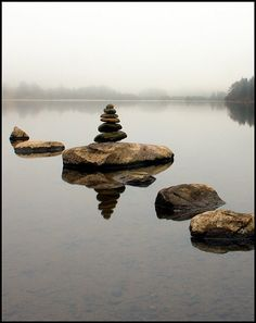 Cairn in the mist