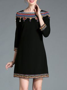#AdoreWe #StyleWe AOFULI Black Appliqued Elegant A-line Mini Dress - AdoreWe.com