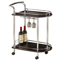 Serve guests at your next soiree with this 2-tier serving cart, featuring a metal frame and wine and stemware storage.