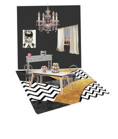 """Dinning room "" by pauline-orangina ❤ liked on Polyvore featuring interior, interiors, interior design, home, home decor, interior decorating, Kylie Minogue, Waverly, Crystorama and Wilton"