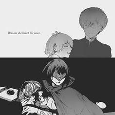 Tokyo Ghoul :re: Kaneki, Sasaki, and Hinami