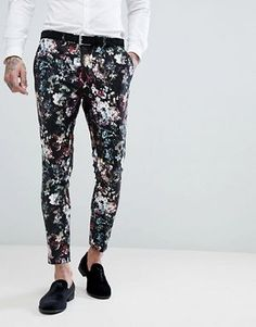 Devil's Advocate Super Skinny Fit Floral Cropped Suit Trousers