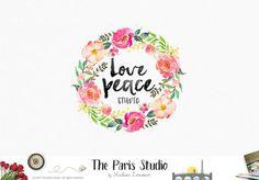 Floral Wreath Watercolor Logo Design website branding logo blog logo boutique logo