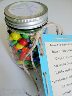 M & M's Teacher Appreciation Gift