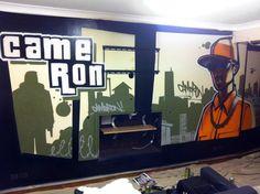 children / teen / Kids Bedroom Graffiti mural - #handpainted #graffiti #featurewall #design #graffitibedroom #interior #design #GTA #GTA5 #grandtheftauto  #playstation #xbox #rockstargames
