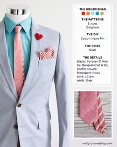 Spring/Summer Look For The Groom's Party  (via Well-Groomed Blog)  Groom's look: Macy's Bar III blazer, General Knot & Co. bow tie, Pierrepont Hicks pocket square, J.Crew shirt, Express Men belt, J.Crew pants, Greenwich Vintage Co. shoes    Groomsman's look: 21 Men blazer, General Knot & Co. tie (sold out: similar), Pierrepont Hicks pocket square, J.Crew shirt, Gap pants    Ring bearer's look: Gap vest (sold out: similar), Apple & Ivy bow tie, Target shirt, Old Navy pants