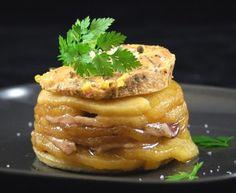 pomme, magret de canard fumé, pain de mie, foie gras, calvados, beurre