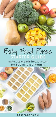 Learn to make your own homemade baby food purees with this easy DIY guide. You'll make seven delicious stage one baby food recipe combinations that will last two months! It doesn't get any easier (or cheaper) than this. Easy, healthy homemade baby food is just 2 hours and $20 away! #babyfood #frugal