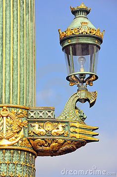 Paris: Old lamp-post by Rene Drouyer. This is quite plain as most architecture. Paris: Old lamp- Lantern Post, Lantern Lamp, Art And Architecture, Architecture Details, Rue Rivoli, Saint Chapelle, Old Lamps, Old Street, Street Lamp