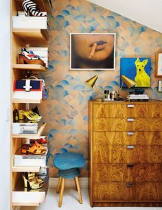Refinery29 EIC Christene Barberich's home in domino's fall 2016 issue! Flat Vernacular wallpaper in the bedroom.