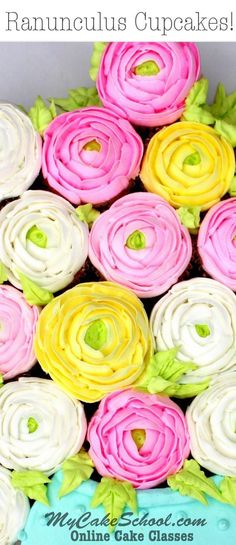 Buttercream Ranunculus Pull Apart Cupcake Video Tutorial! - MyCakeSchool.com-Member Video. Online Cake Decorating Classes #buttercreamtutorials #buttercreampiping #ranunculuspiping #mycakeschool #cakedecoratingtutorials