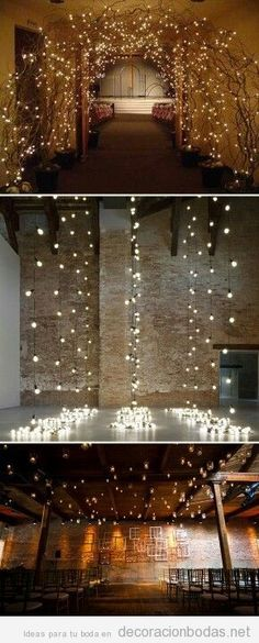 Ideas decorar boda con ramas de árboles y lucecitas
