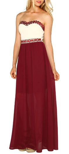 Maroon & Cream Jeweled Sweetheart Maxi Dress Oomph! Maxi/flowy, plus contrasted boobs, plus a rich contrast between the deep red and warm cream. Girly/lacey details.