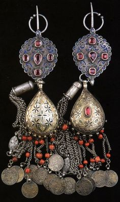 Morocco | Pair fibulae; silver, enamel, silver gilt, coral, old coins and glass paste.