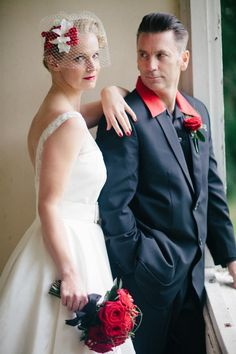Pen and Jeff's Black and Red Fifties, Rockabilly Wedding by Miki Photography