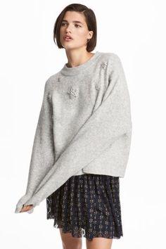 Pulover tricotat, cu mărgele - Gri-deschis/cu stele - FEMEI | H&M RO 1