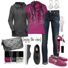 """fuschia & grey""- Love this outfit! The sweater looks so comfy and warm!"