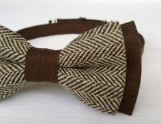 Men's bow tie  Mixer Brown Cotton and Khaki by KristineBridal