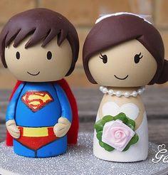 / Man Of Steel Cute SUPERMAN Groom And Bride Wedding Cake Topper cakepins.com