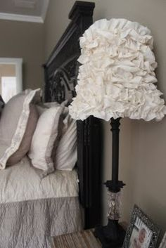 DIY ruffle lamp shade, use already ruffled lace or edging from craft store, wind and glue on shade...