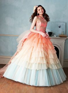 Such sweet and summery soft pastels on this doll-like gown.