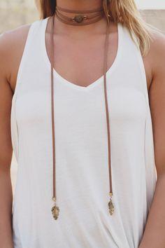 Tan Vegan Leather Longline Charm Wrap Necklace