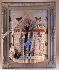(15) handmade shabby chic bird cage Origami book fold art framed 10 x 8