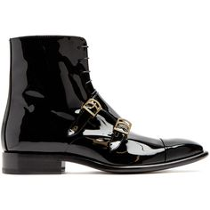 Jil Sander Monk-strap patent-leather ankle boots (£745) ❤ liked on Polyvore featuring shoes, boots, ankle booties, black, military boots, black patent leather booties, black bootie boots, black ankle bootie and short black boots