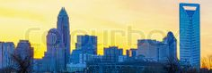 Image of 'early morning sunrise over charlotte city skyline downtown' on Colourbox
