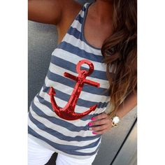 Striped Sequined Anchor Tank Top For Women