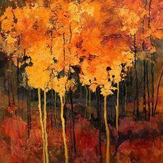 "CAROL NELSON FINE ART BLOG: Mixed Media Tree Art ""Good Fortune"" by Colorado Mixed Media Abstract Artist Carol Nelson"