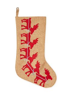 Reindeer Stocking from Woodland Tree on Gilt
