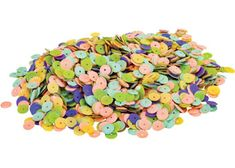 This jar of pastel sequins is great for Easter & Mother's Day classroom craft activities. Children can develop their fine motor skills using these pastel sequins with decofoam pins to decorate decofoam eggs. Sequins bring a 3D effect to your craft and can be glued or sewn onto a variety of surfaces including fabric, papier mache, decofoam, wood and more, making sequins a versatile crafting option. Pastel colours include blue, green, purple, pink and yellow. Sequin size: 10mm.