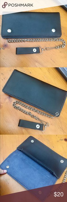 """Ex Large Trucker/Biker Chain Wallet Black Man made USA made Chain Wallet. A Large 9.5"""" X 4.5"""" Brand New. Very sturdy and well made. See pics for slots and zipper compartment Bags Wallets"""