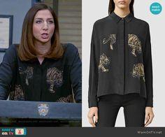Gina's black tiger print shirt on Brooklyn Nine-Nine.  Outfit Details: https://wornontv.net/55970/ #Brooklyn99