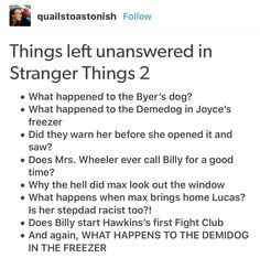 Things left unanswered in Stranger Things Season 2