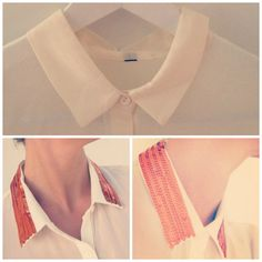 Beautiful Sarah Orange Sequin from LilyJoe.se. Just Iron on the collar to create a glamorous look!