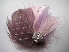 Wedding Bridal Ivory Grape Purple Lilac Feather Rhinestone Jewel White Veiling Head Piece Hair Clip Fascinator Accessory READY TO SHIP -$28.00