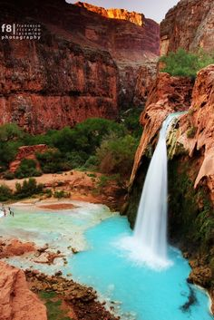Sunset on the Havasu Falls in the Havasupai Indian Reservation, 10 miles down into the Grand Canyon.